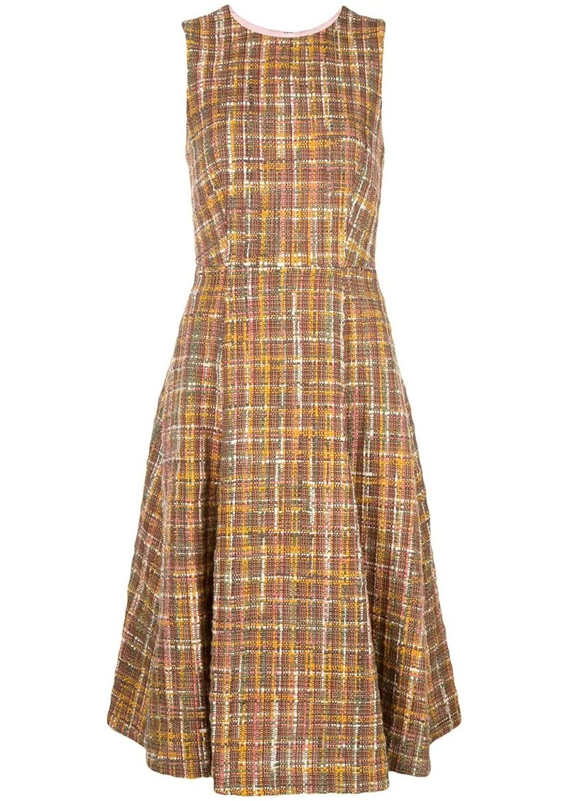 Adam Lippes check tweed fluted dress
