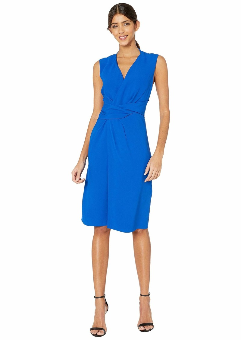 Adam Lippes Crepe V-Neck Dress w/ Draped Waist