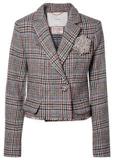 Adam Lippes Cropped Embellished Harris Tweed Blazer