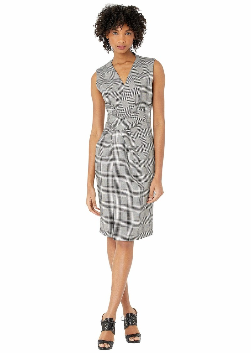 Adam Lippes Double Faced Plaid Wool V-Neck Dress w/ Draped Waist