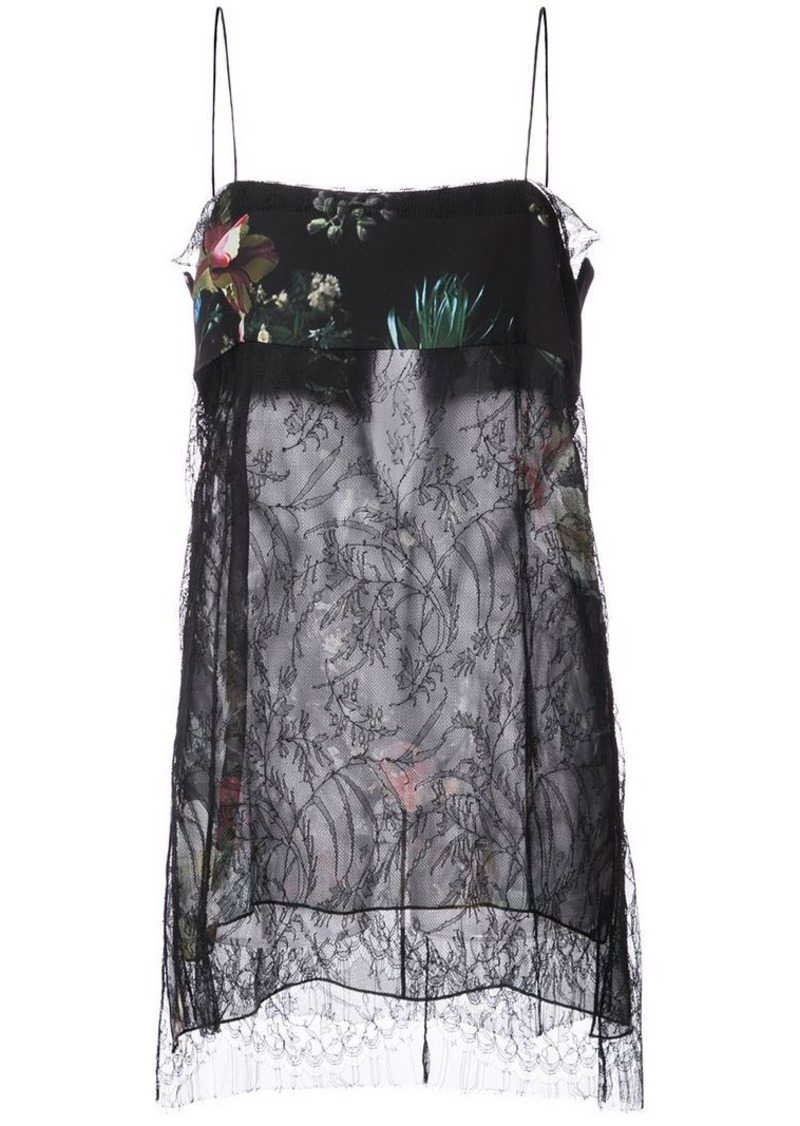 Adam Lippes floral print and lace detail sheer camisole