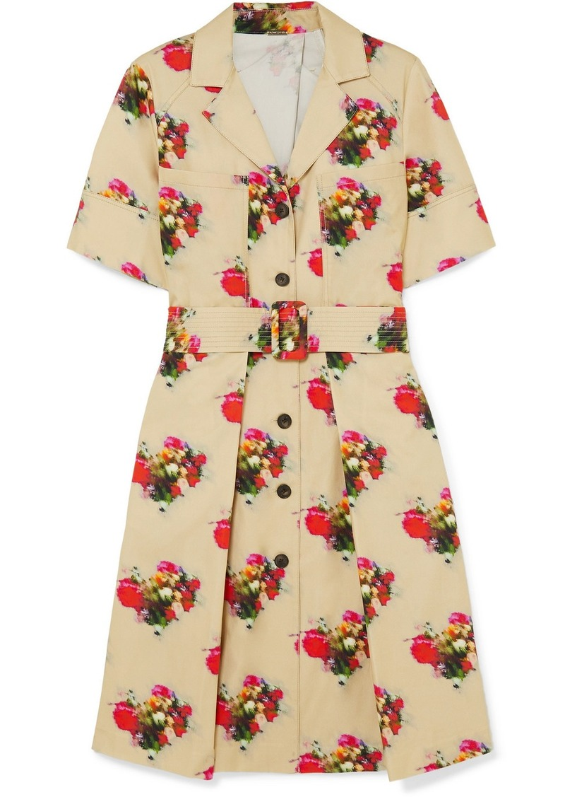 Adam Lippes Floral-print Belted Cotton-twill Dress