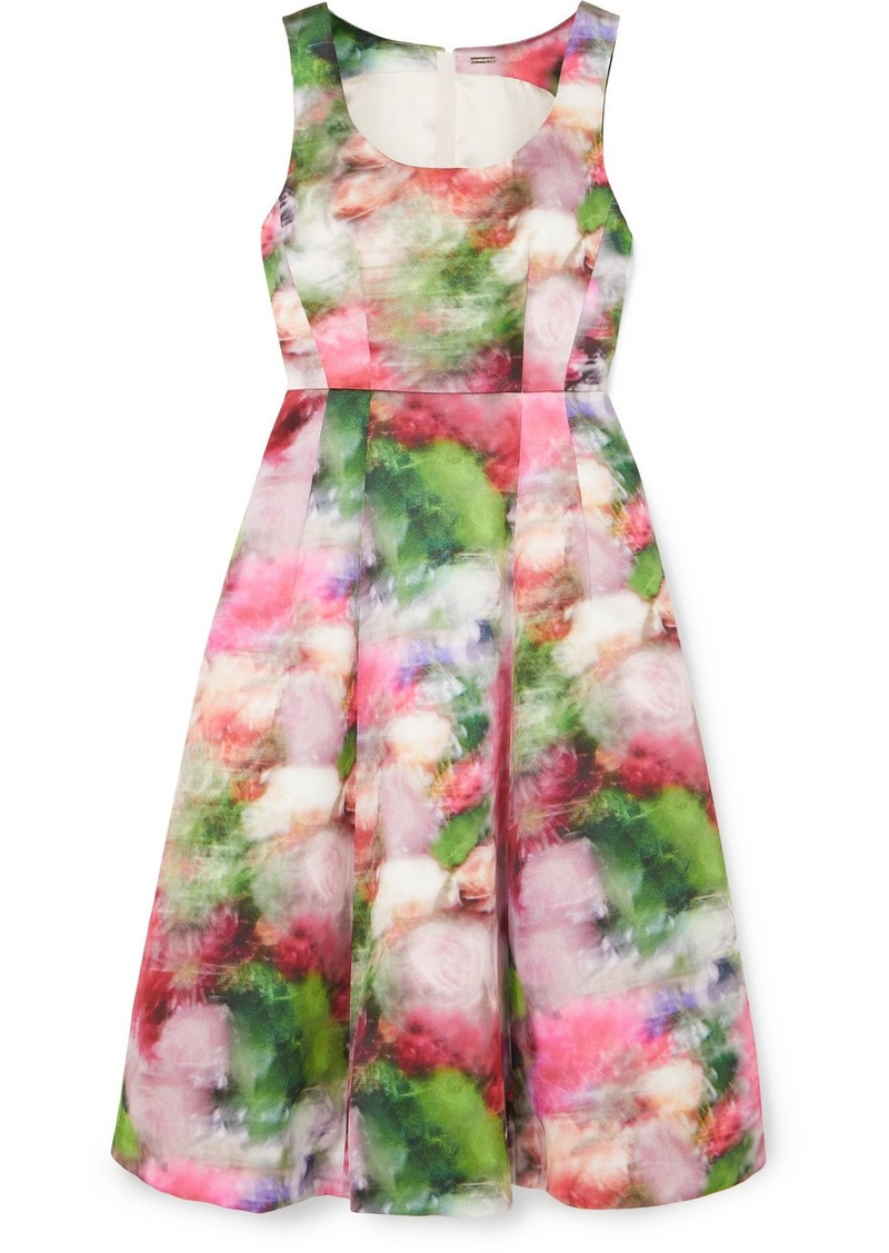 Adam Lippes Floral-print Duchesse Satin Dress