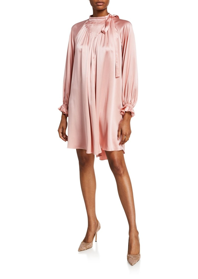 Adam Lippes Fluid Silk Tie-Neck Shift Dress