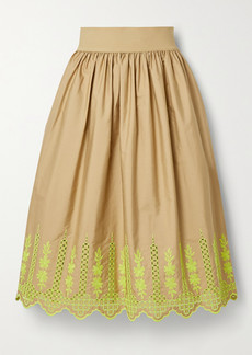 Adam Lippes Gathered Broderie Anglaise Cotton-blend Poplin Midi Skirt