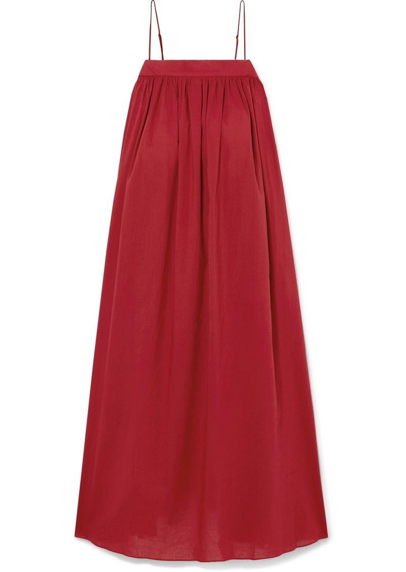 Adam Lippes Gathered Cotton-voile Midi Dress