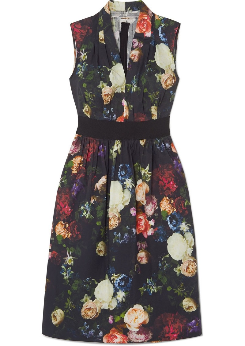 Adam Lippes Grosgrain-trimmed Floral-print Cotton-blend Poplin Dress
