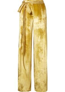 Adam Lippes Moire-trimmed Velvet Wide-leg Pants