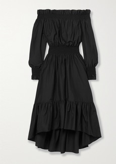 Adam Lippes Off-the-shoulder Shirred Cotton And Silk-blend Dress