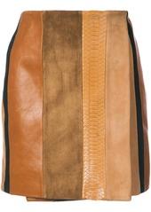 Adam Lippes patchwork leather mini skirt