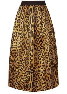 Adam Lippes Pleated Leopard-print Duchesse-satin Maxi Skirt