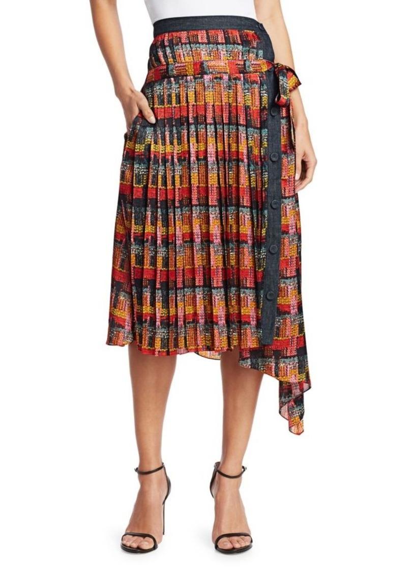 Adam Lippes Print Satin Chiffon Wrap Skirt