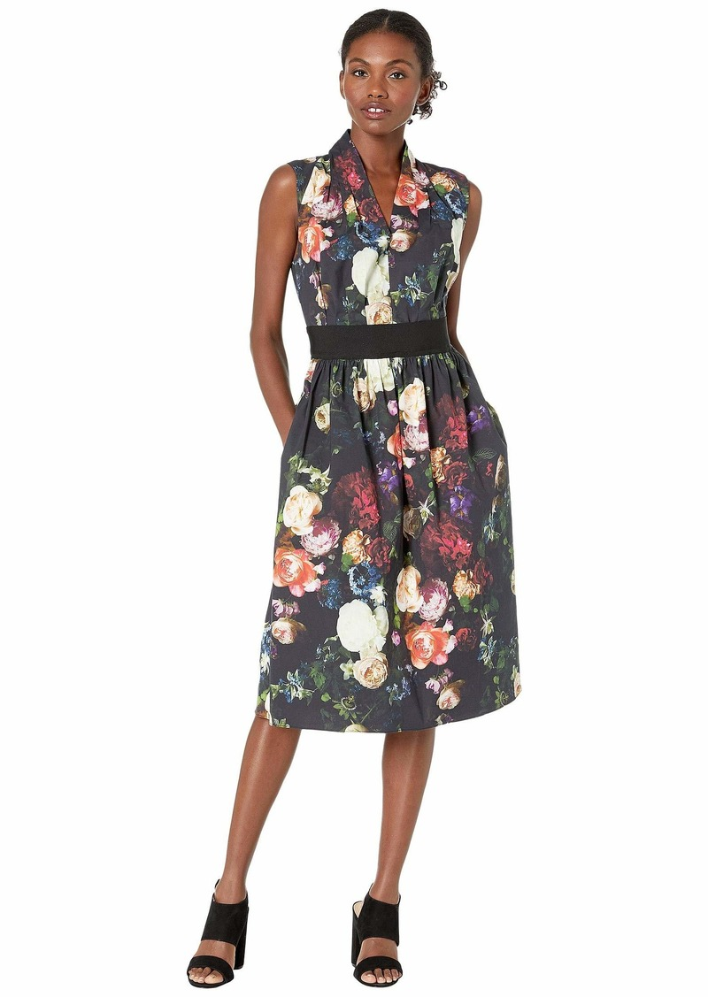 Adam Lippes Printed Poplin Gathered Waist Dress