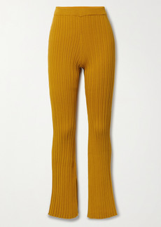 Adam Lippes Ribbed Cotton-blend Flared Pants