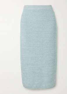 Adam Lippes Ribbed Wool Silk And Cashmere-blend Midi Skirt