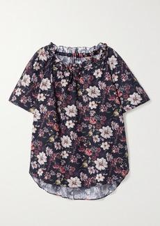Adam Lippes Ruffled Floral-print Cotton-blend Poplin Top