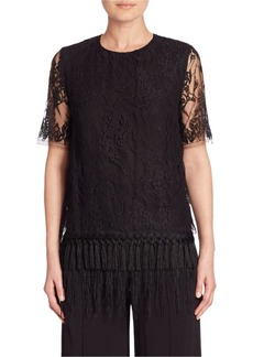 Adam Lippes Sheer-Sleeve Pullover Lace Top
