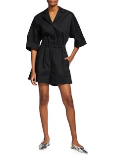Adam Lippes Short-Sleeve Button-Front Romper