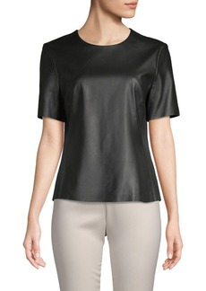 Adam Lippes Short-Sleeve Leather Top