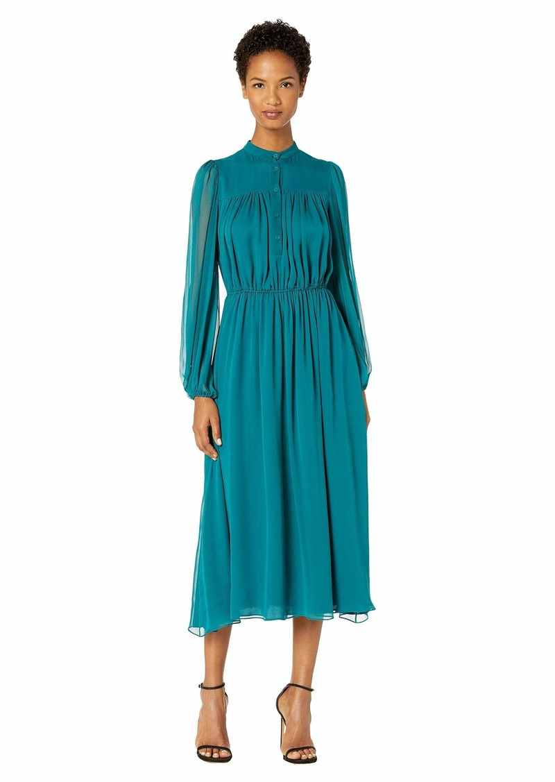Adam Lippes Silk Chiffon Long Sleeve Dress w/ Elastic Waist