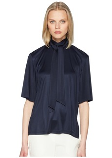 Adam Lippes Silk Jersey Short Sleeve Blouse w/ Scarf