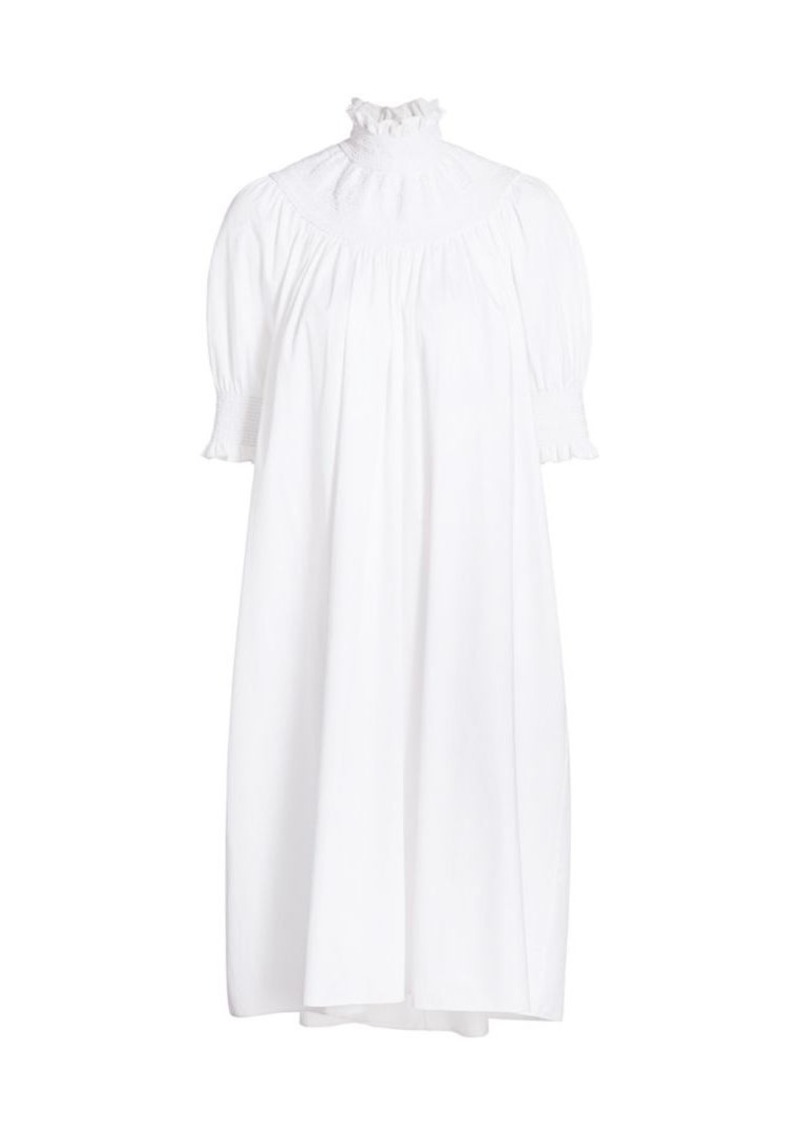 Adam Lippes Smocked Highneck Dress