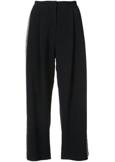 Adam Lippes Stretch cady pleat front culottes with embellished sides