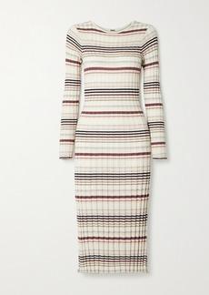 Adam Lippes Striped Ribbed Silk And Cashmere-blend Midi Dress