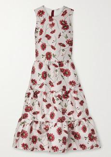 Adam Lippes Tiered Floral-print Satin-jacquard Midi Dress