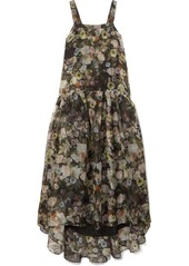 Adam Lippes Tiered Floral-print Silk-organza Maxi Dress