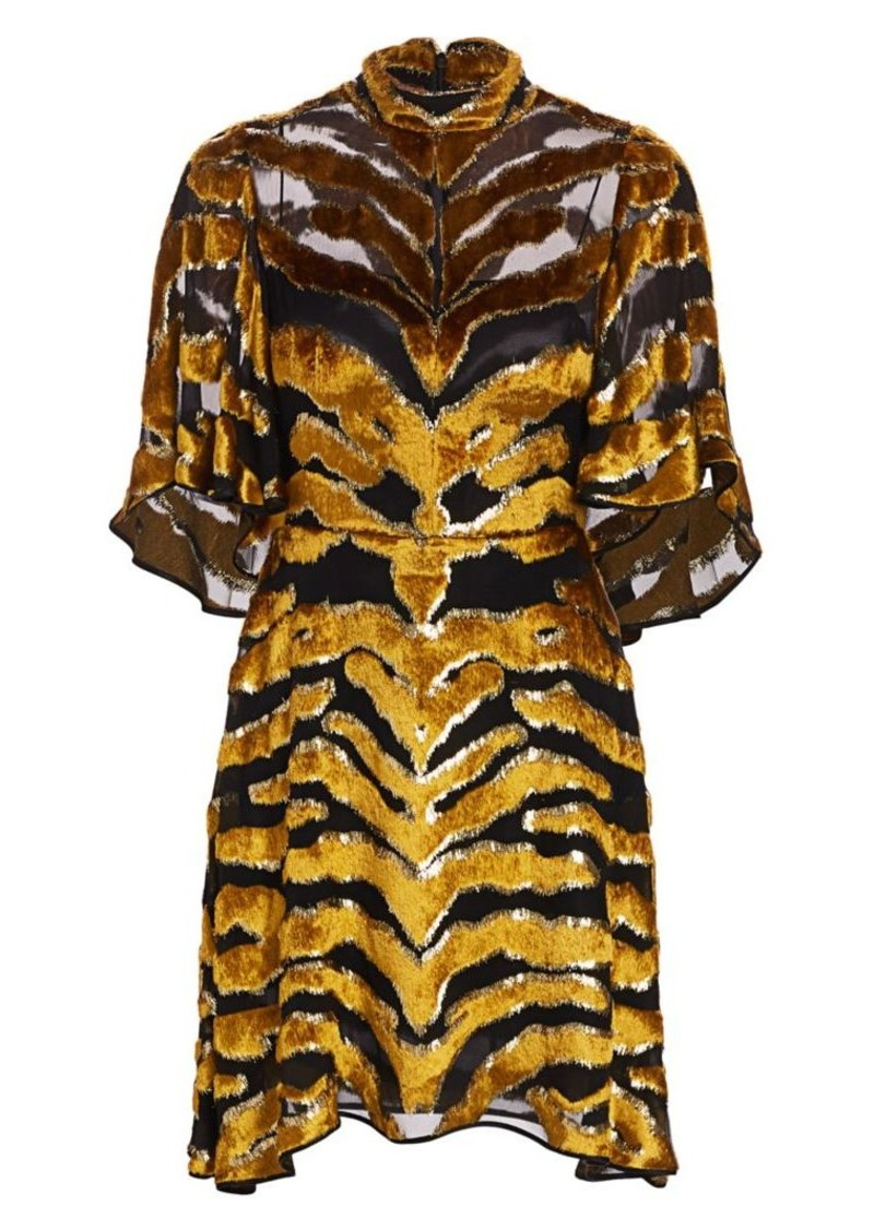 Adam Lippes Tiger-Stripe Burnout Dress