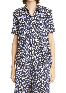 Women's Adam Lippes Leopard Print High/low Button-Up Shirt