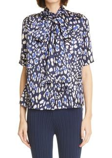 Women's Adam Lippes Leopard Print Tie Neck Silk Blouse
