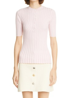Women's Adam Lippes Ribbed Silk & Cashmere Henley