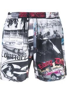 Adaptation drawstring printed shorts