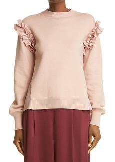 Adeam Ruffle Mixed Media Sweater