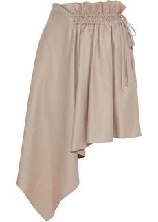 Adeam Woman Asymmetric Gathered Shantung Mini Skirt Sand