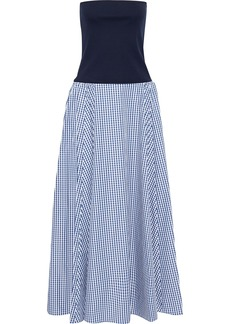 Adeam Woman Convertible Stretch-jersey And Gingham Shell Maxi Dress Navy