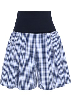Adeam Woman Convertible Stretch-jersey And Gingham Shell Shorts Navy