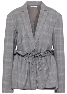 Adeam Woman Gathered Layered Prince Of Wales Checked Woven Jacket Gray