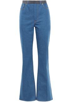 Adeam Woman Grosgrain-trimmed High-rise Flared Jeans Light Denim
