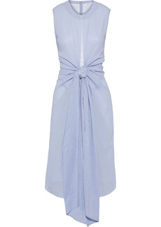 Adeam Woman Knotted Cotton-broadcloth Dress Light Blue