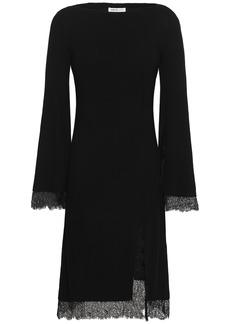 Adeam Woman Lace-trimmed Ribbed Silk Dress Black