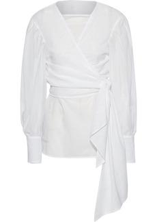 Adeam Woman Layered Cotton Wrap Top White