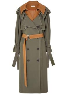 Adeam Woman Layered Wool-blend Gabardine Trench Coat Grey Green