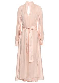 Adeam Woman Open-back Plissé-georgette And Satin Midi Dress Pastel Pink
