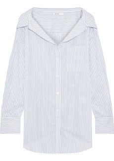 Adeam Woman Oversized Cutout Gathered Striped Poplin Shirt White
