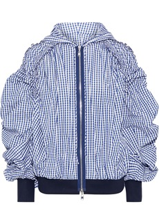 Adeam Woman Ruched Gingham Shell Hooded Jacket Navy