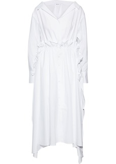Adeam Woman Ruffle-trimmed Cotton-blend Poplin Midi Shirt Dress White