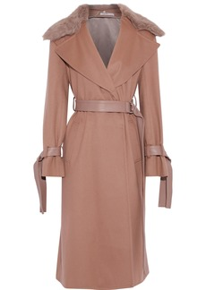 Adeam Woman Shearling And Leather-trimmed Wool-blend Felt Coat Light Brown